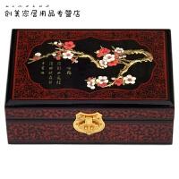 平遥复古推光漆器首饰盒木质中欧式公主实木结婚梳妆盒居家创意