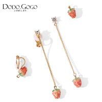 可爱草莓耳环女气质韩国耳坠简约无耳洞耳夹网红纯银耳钉长款耳饰