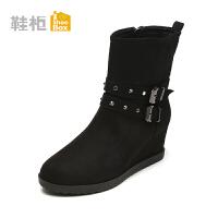 【达芙妮年货节】Daphne/达芙妮旗下鞋柜 冬季新款时尚复古女鞋方扣中坡跟女靴女鞋