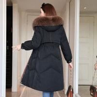 羽绒韩版羽绒服女中长款加厚修身过膝外套 S 85-100斤