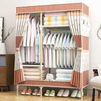 单人衣柜简易布衣柜出租房用家用网红实木加粗组装收纳衣橱布艺双