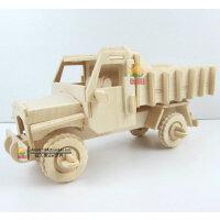 益智儿童汽车玩具 组装仿真卡车模型1:24 木制智力拼装工程车模型
