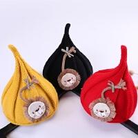 韩版儿童秋冬季保暖可爱尖尖帽男童针织宝宝巫师帽女童婴儿潮帽子