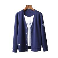 工厂剪标尾货秋季V领假两件针织开衫毛衣薄外套 蓝色