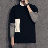 秋季新款假两件毛衣男 韩版潮拼色个性打底线衫 衬衫领男士针织衫