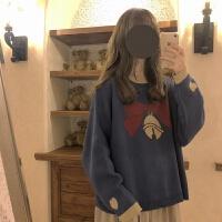 学院风秋冬毛衣女学生韩版宽松显瘦套头圆领长袖针织衫外套潮