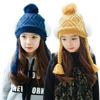 韩国KK树女童帽子保暖护耳毛线帽儿童帽子秋女公主帽