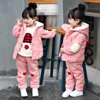 儿童冬装三件套童装2018新款韩版宝宝加绒加厚女孩套装