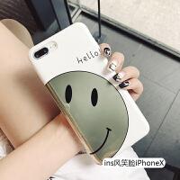 ins风笑脸苹果x手机壳女款iphone7plus网红6splus全包8日韩6s简约