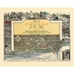西洋古地图装饰画:走向1933年的芝加哥(20寸画芯)