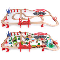 六一儿童节礼物木制火车轨道玩具木质轨道小火车套装木头积儿童玩具木制电动赛车男孩 官方标配