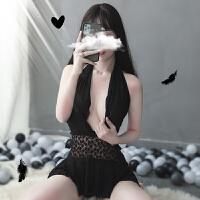 性感情趣内衣超骚床上挑逗蕾丝睡裙透明挂脖夜店制服免脱激情套装