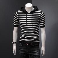 男士针织衫短袖连帽条纹打底衫字母徽章修身韩版社会人半袖T恤男