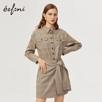 伊芙丽新款潮冬装复古威尔士格纹工装风假两件衬衫连衣裙1AA99018