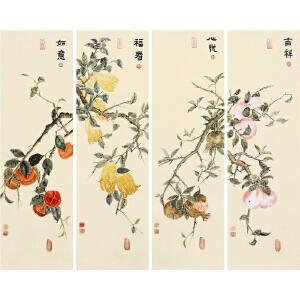 四条屏《吉祥 心悦 福寿 如意》R4584张一娜 一级美术师 本画带作者防伪钢印