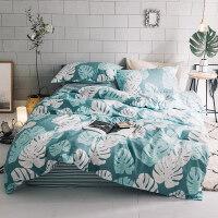 自然醒商场同款简约小清新网红款全棉四件套棉床单被套宿舍三件套床上用品夏季