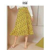 OSA欧莎2019夏装新款女装 时髦撞色几何图形印花百褶半身裙