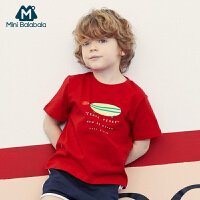 【618年中庆 2件4折价:40】迷你巴拉巴拉男童短袖T恤2020夏季新款亲肤透气校园风格短袖上衣