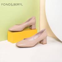 Fondberyl/菲伯丽尔春季专柜同款纯色方头粗跟单鞋子女FB01111008