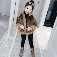 儿童秋冬季鹿皮绒外套加厚短款棉服女孩保暖羊羔毛大衣潮
