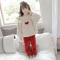 儿童珊瑚绒睡衣秋冬季加厚款公主女孩法兰绒家居服套装