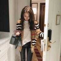 毛衣外套女韩版宽松学生秋冬经典开衫针织衫条纹宽松上衣 卡其色 偏深
