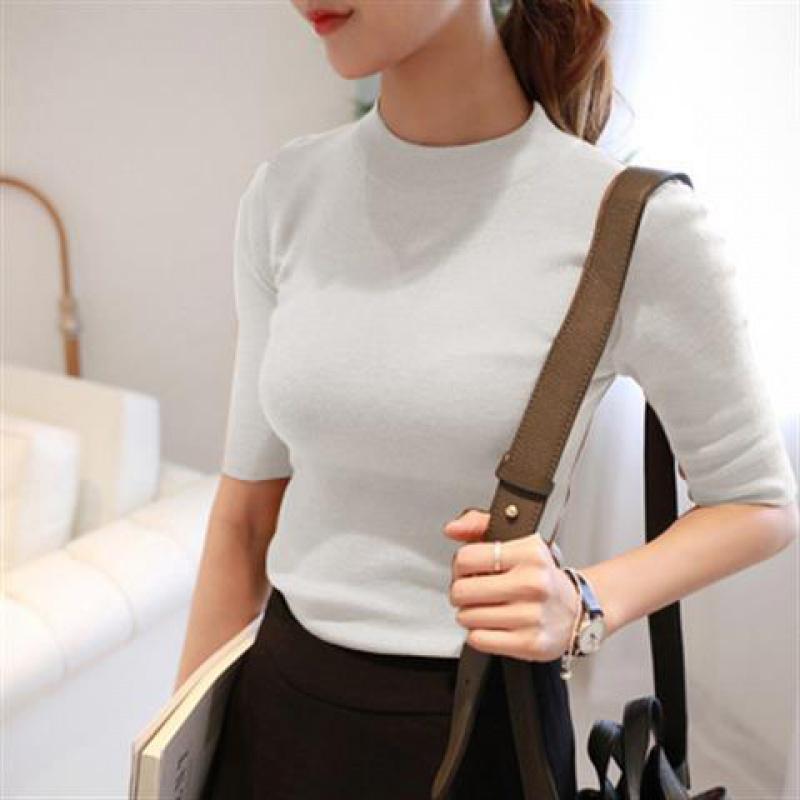 秋冬女装打底衫半高领五分袖针织衫套头修身中袖毛衣女韩版