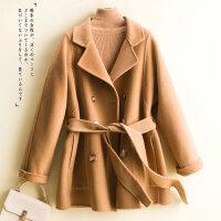 2021秋冬新款小个子短款宽松毛呢外套西装领腰带双排扣双面羊绒大衣女