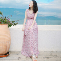 2019夏季新款女装V领无袖雪纺连衣裙长裙波西米亚沙滩裙海边度假 粉色 XZ16A267