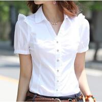 新款夏装短袖衬衫女韩版修身雪纺衬衣上衣女士工装职业通勤女装