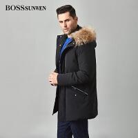 BOSSSUNWEN毛领中长款加厚白鸭绒羽绒服男冬季连帽中青年外套上衣