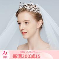 2019新款时尚大气奢华银白色新娘结婚水钻皇冠婚纱礼服配件头饰品 银色