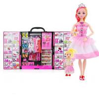 芭比娃娃的衣柜 儿童玩具芭比娃娃的公主梦大衣柜女孩公主套装礼盒可换装梦幻衣橱 35厘米