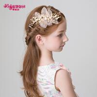 儿童头饰发饰女童公主发箍韩式女孩发卡边夹金色花朵发夹花童饰品
