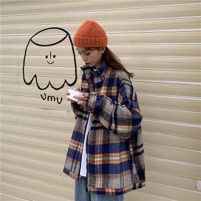 秋装女2019加厚港风bf宽松拉链毛呢格子学生外套女韩版上衣冬 图片色