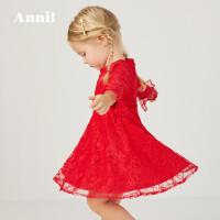 【活动价:194】安奈儿童装小女童长袖连衣裙2020春装新款荷叶袖纯色公主裙子