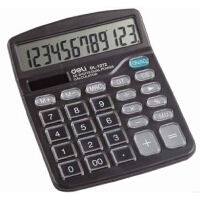 DeLi 得力1272 水晶按键计算器 太阳能和电池 12位 黑色