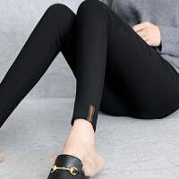 加绒加厚+薄款秋冬季女裤小脚裤女裤弹力显瘦铅笔裤黑色紧身长裤