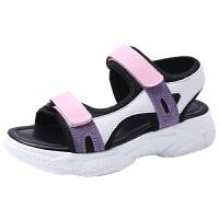 寸年�t蜻蜓正品�鲂�女2020夏季新款真皮紫色小�a�底�p便百搭�\�优�鞋