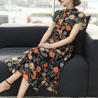 时尚品牌桑蚕丝双绉连衣裙中长款2019夏新款时尚气质女装碎花裙子SN0548