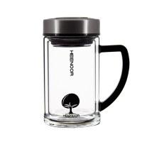 希诺双层玻璃杯带盖过滤办公室泡茶杯手柄创意便携玻璃水杯子