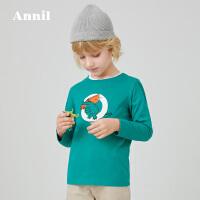 【活动价:101.4】安奈儿童装男童T恤长袖印花2020春季新款中大童男孩纯棉透气上衣