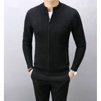 男装T恤男装春秋新款黑色毛开衫外套韩版时尚羊毛针织衫拉链毛衣