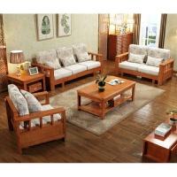 新中式实木沙发123组合家具全实木沙发组合沙发橡木沙发 +茶几+