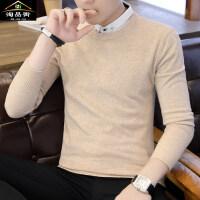 假两件毛衣男长袖纯色潮流线衣秋季韩版修身衬衫领男士打底针织衫