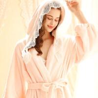 秋冬季法兰绒加厚保暖中长款公主蕾丝睡袍浴袍女士睡衣新娘晨袍