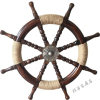装饰挂件复古怀旧实木船舵领航船舵实木方向盘 1