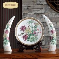 家用陶瓷摆件三件套景德镇象牙欧式花瓶客厅玄关博古架创意家居装饰品SN8871