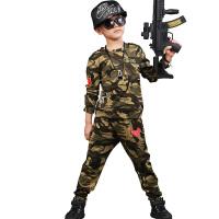 六一儿童军装套装野战服男童短袖夏装演出服男孩军训迷彩服 军绿色 110cm