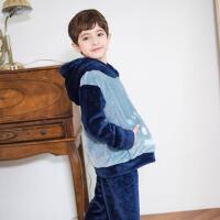 儿童冬季睡衣男厚款男孩法兰绒连帽冬天男童珊瑚绒家居服
